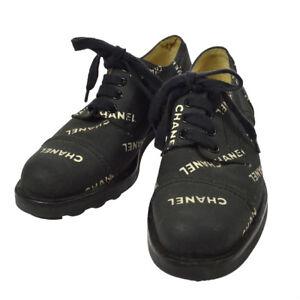 Authentic-CHANEL-Vintage-CC-Logos-Sneakers-Shoes-Black-Canvas-36-AK12313