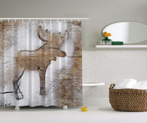 Rustic Winter Moose Holiday Christmas Fabric Shower Curtain