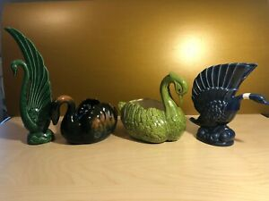 Lot-of-4-Ceramic-SWAN-PLANTERS-Display-Pieces-including-Royal-Haeger-R904-USA
