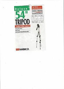 """AmbicoTripod  54"""" 3 Way Pam Head / Fluid Head One handled Quick-Release Shoe"""
