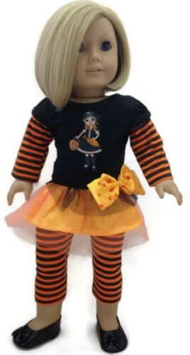 "Halloween Top with Witch /& Striped Leggings for 18/""  American Girl Doll Clothes"