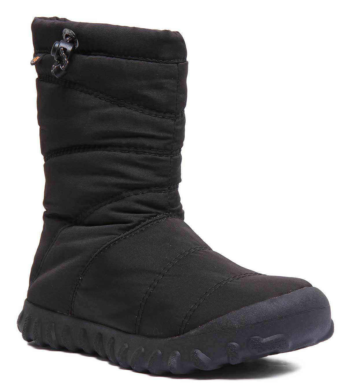 Bogs B Puffy Mid Womens Black Textile Boots Size UK 3 - 8