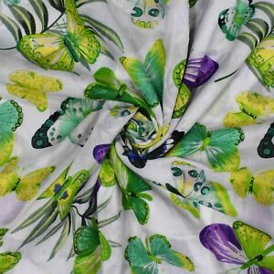 Cotton-Fabric-White-Butterfly-Pattern-43-034-Wide-Sewing-Material-By-The-Yard-India
