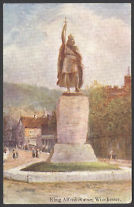 Winchester-Hampshire-King-Alfred-Statue-The-Broadway-1915-Posted-Postcard