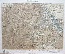 Auer Orig. Lithografie Landkarte Wien Umgebung Niederösterreich Österreich 1856