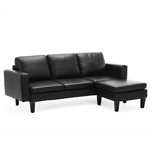 Modern Leather L Shape Small Space Sectional Sofa Couch Set W