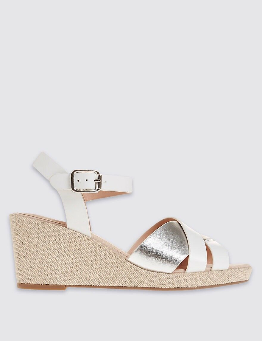 Marks And Spencer Women wide fit leather heel slotted Sandals