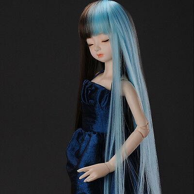 "Dollmore 1/4 BJD OOAK MSD Wig (7-8)""  Long Sera Straight Wig (Mirror Blue)"