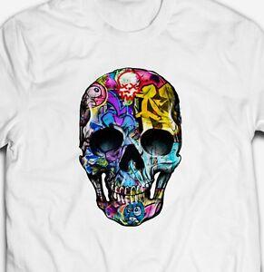 RETRO-URBAN-GRAFFITI-ART-HUMAN-SKULL-100-cotton-Mens-SKELETON-T-shirt-TEE