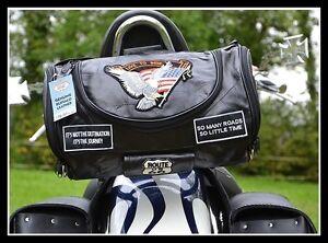 Sac Sissy Bar En Cuir Souple Aigle / Live To Ride ( Moto Custom Trike ) Neuf