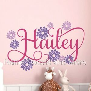 Personalized Name Vinyl Wall Decal Girl's Bedroom Decor Flowers Nursery