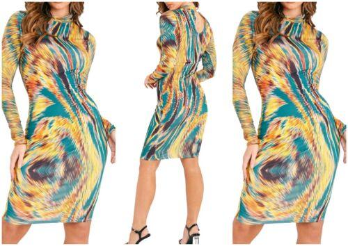 Femmes Arc-en-à Manches Longues Moulante Extensible Midi Robe Femme Maxi Top UK 8-12