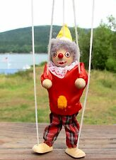 """VINTAGE 9-1/2"""" CLOWN STRING MARIONETTE, Wood & Cloth Puppet/Doll, Painted Face"""