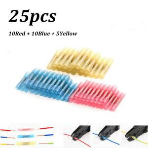 25PCS Waterproof Heat Shrink Wire Crimp Connectors Seal Butt Splice Terminals