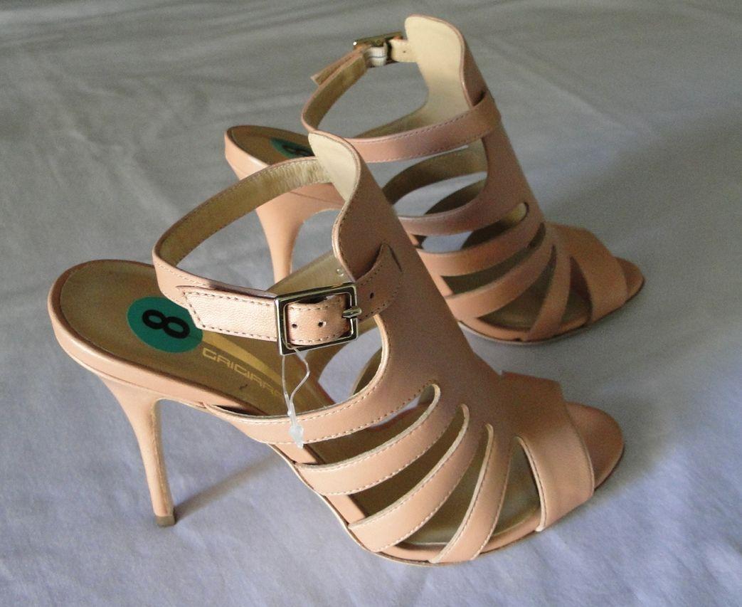 GRIGIARANCIO Peach Blush Leather Sandals Heels scarpe SZ 39 (7.5-8)  NEW