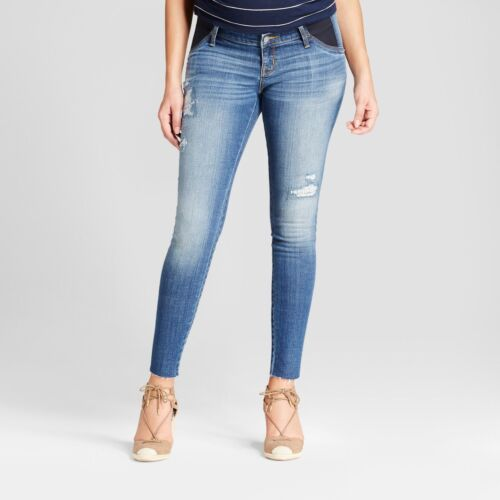 NEW Isabel Maternity Inset Panel Distressed Medium Wash Jeggings Jeans