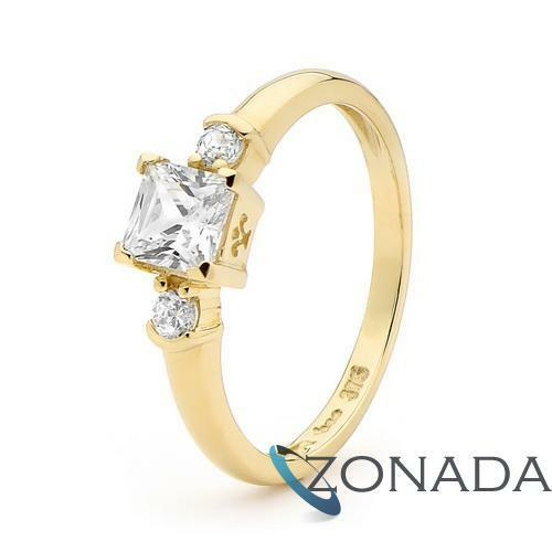 5X5mm Simulated Diamond 9k 9ct Solid Yellow Gold Solitaire Ring Size P 7.75