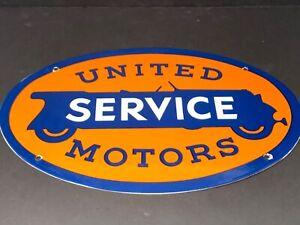 VINTAGE-UNITED-MOTOR-SERVICE-16-5-034-034-PORCELAIN-METAL-GENERAL-GM-GASOLINE-OIL-SIGN