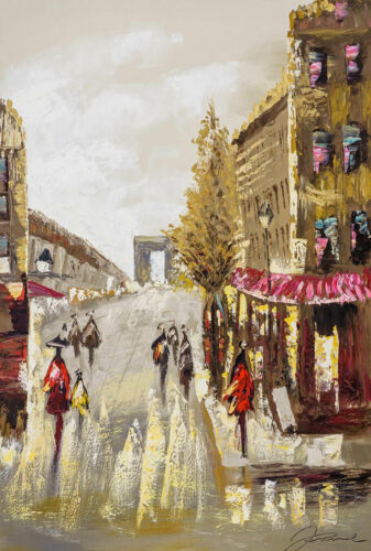 ORIGINALE dipinto restaurando con cornice Parigi Champs Elysee Francia 124x84cm