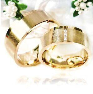 2-Eheringe-Trauringe-Verlobungsringe-PartnerRinge-333-GOLD-Gravur-Etui-S500