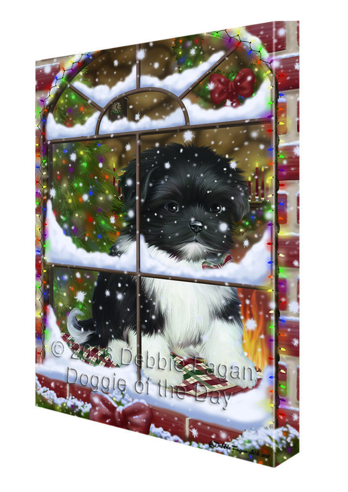 Please Come Home For Christmas Shih Tzu Dog Sitting In Window Canvas Wall Art