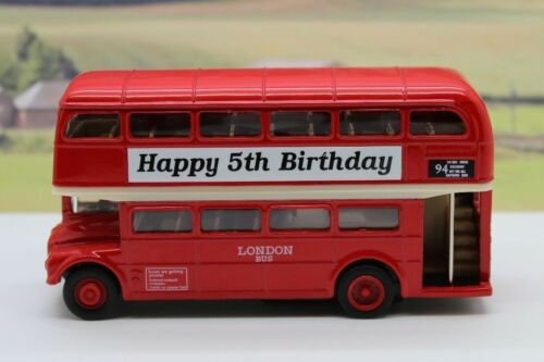 Happy 5th Birthday PERSONALISED NAME Gift Red London Diecast Double Decker Bus