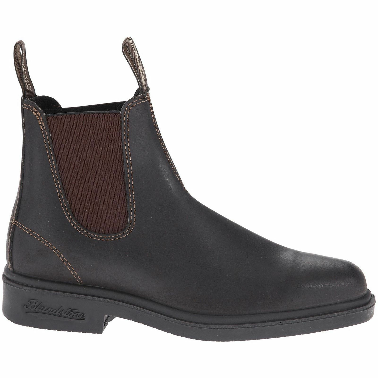Blundstone 062 Stout Brown Unisex Leather Square-toe Ankle Slip-on Chelsea Boots