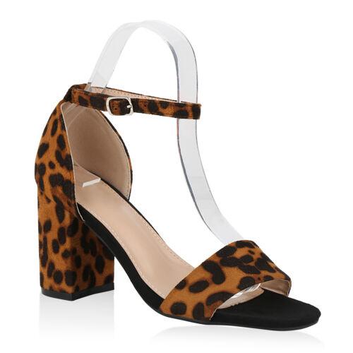 Damen Riemchensandaletten Party Sandaletten High Heel Sandalen 825689 Trendy Neu