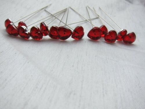Wedding Flowers 25 Red Diamante Crystal Headed Heart Pins Buy 2 Sets Get 1 Free