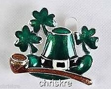 Irish Celtic Shamrock Pin Brooch Hat Clover St Patrick Day Green Enamel USA