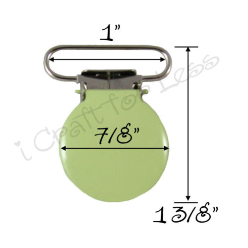 "FREE SHIPPING Suspender Pacifier Holder Mitten Clips Round Face 1/"" Lime Enamel"