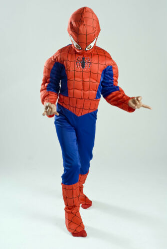 Spiderman Costume for kids light up muscle boys FREE MASK S M 5 6 7 8 9