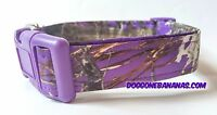 Purple Camo Poly Dog Collar W/separate Leash Option, True Timber Fabric, Wtr Res