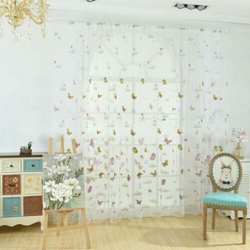 Home Butterfly Tulle Voile Window Curtain Drape Panel Sheer Valances Decor UK
