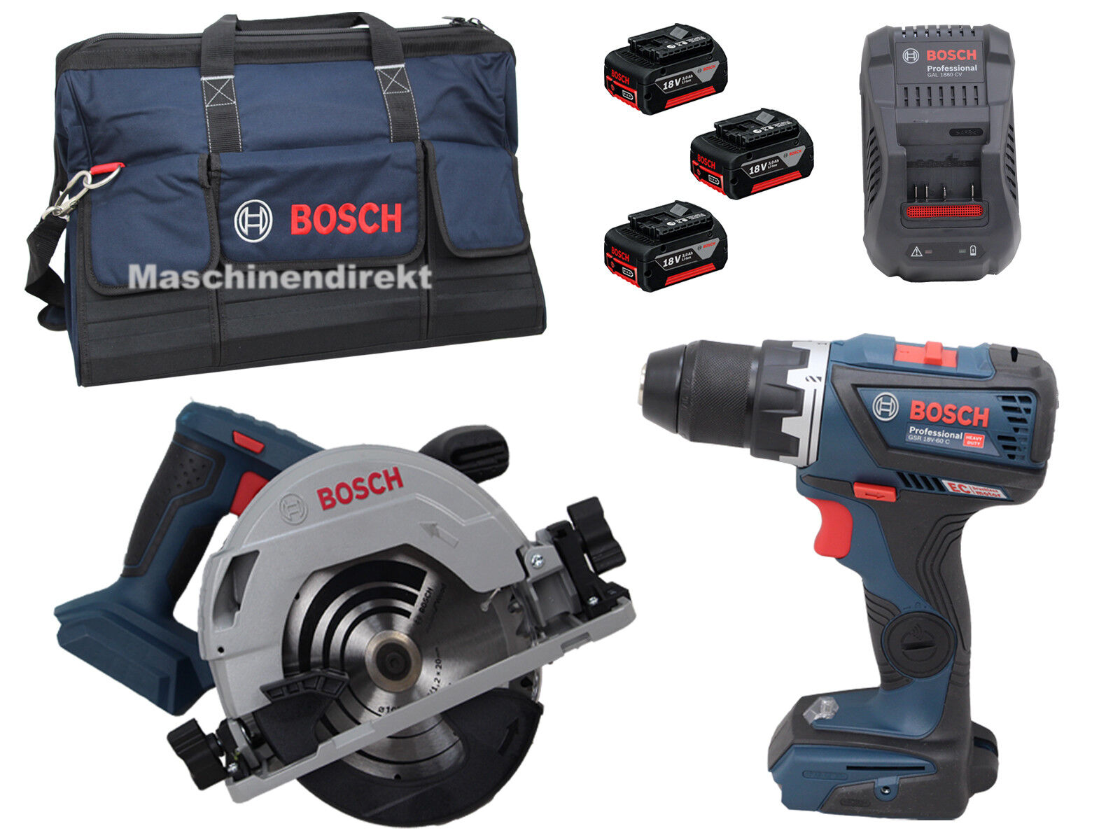 Bosch Akku Set Handwerkertasche + GKS18V-57 G + GSR18V-60 C + 3x 3.0 ah Akkus