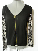 Leopard Print Cardigan Sweater Women Sml Black Gray Zip Up Vneck Summer Wear