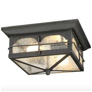 Outdoor exterior porch flush mount ceiling light lighting fixture glass shade 618125304424 ebay for Exterior flush mount light fixtures