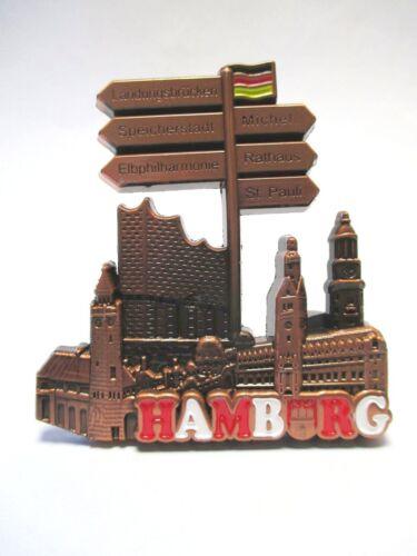 Hamburg Metall Magnet Elbphilharmonie Michel Rathaus St.Pauli (redbro)