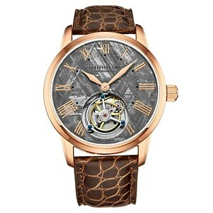 Stuhrling-Hand-wind-40mm-Tourbillon-Meteorite-Dial-Alligator-Leather-Men-039-s-Watch