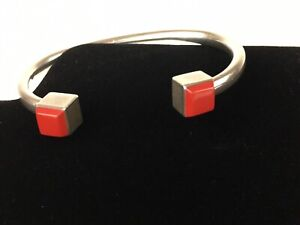 Vintage-Mexico-925-Sterling-Silver-Red-Coral-Cuff-Bangle-Bracelet