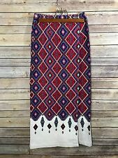 Vtg Adobe Rose Denim White Country Southwestern Aztec Navajo Wrap Skirt Sz 3 S