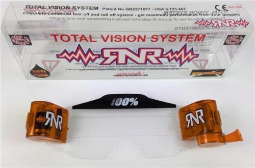 100 /% PERCENT TVS TOTAL VISION SYSTEM MOTOCROSS GOGGLES RNR Orange roll offs