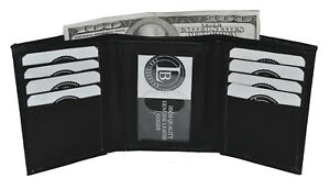 Men-039-s-Genuine-Leather-Trifold-Wallet-Black-New-With-Gift-Box