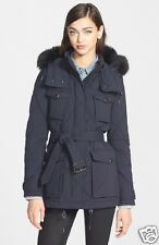 new BURBERRY BRIT BENLEY Genuine Fox Fur Trim DOWN Coat Jacket in BLACK  XLarge
