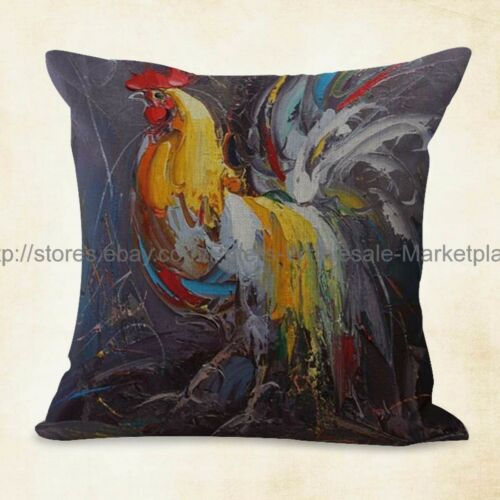 4pcs decorative cushion covers farmhouse animal rooster chicken US SELLER