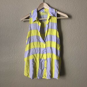 6337193a497 Image is loading Splendid-Yellow-And-Purple-Sleeveless-Striped-Button-Down-