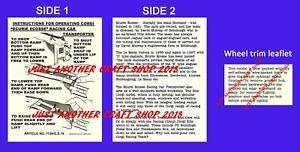 Corgi-Toys-1126-amp-GS-16-Ecurie-Ecosse-Git-Set-el-folleto-de-instrucciones-de-uso
