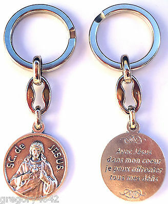 Magnifique Porte Clef Du Sacre Coeur De Jesus En Metal Avec Priere Au Verso Elegant In Stijl