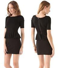 NEW! Ella Moss 'Emily' Black Jersey Peplum Dress Exposed Zipper $198, S