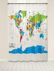 Saturday knight the world map shower curtain 100 peva travel fans stock photo gumiabroncs Gallery